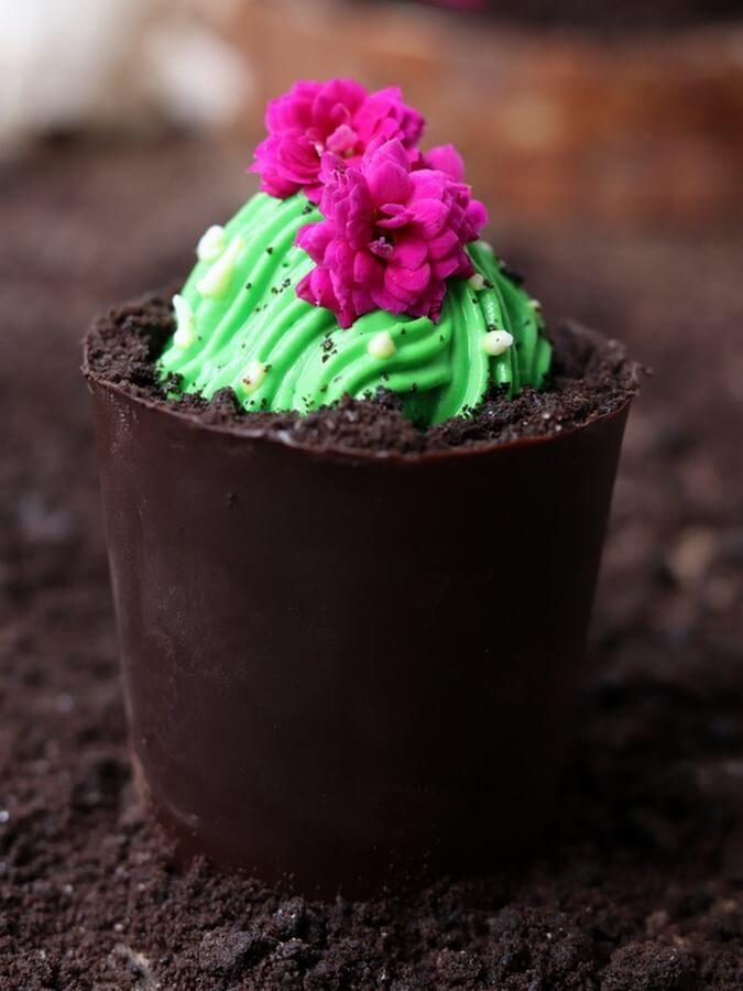 Deser w czekoladowej doniczce