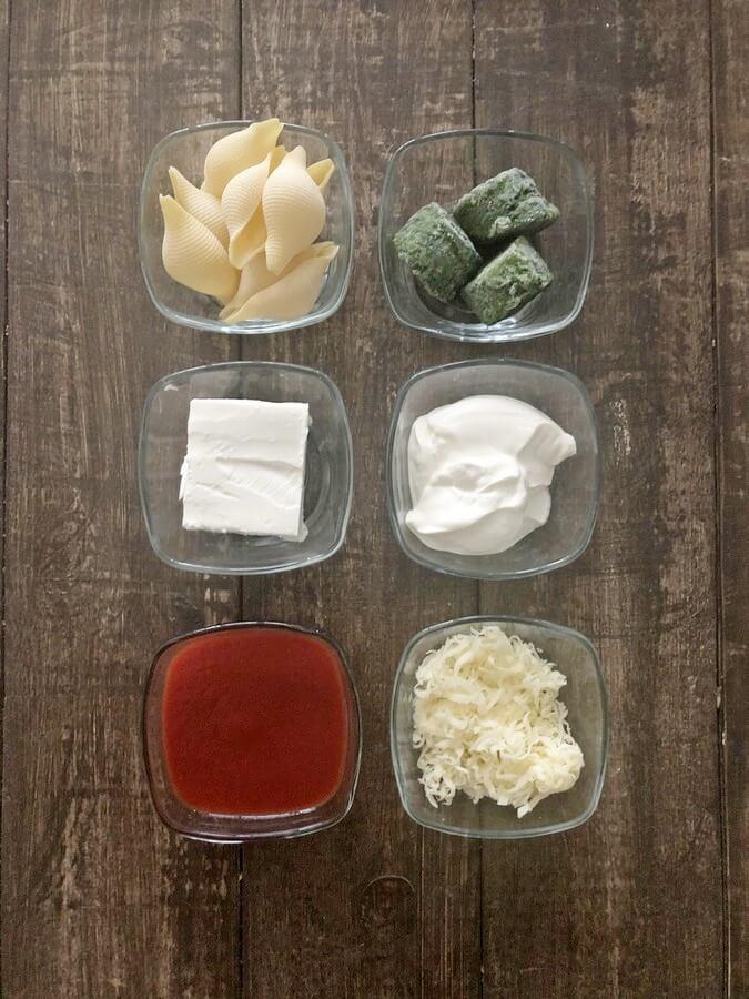 Conchiglie (muszle) nadziewane szpinakiem i fetą